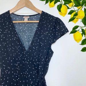 Mossimo Navy Blue Print Wrap Dress